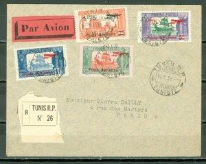 TUNISIA 1930 REG. AIR COVER TO PARIS...#C3-4-5-6