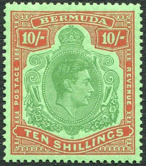 BERMUDA-1953 10/- Green & Dull Red/Green Perf 13 Sg 119f MOUNTED MINT V26404