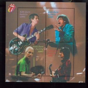 Rolling Stones Rock n Roll Commemorative Souvenir Stamp Sheet #1924 Austria E2