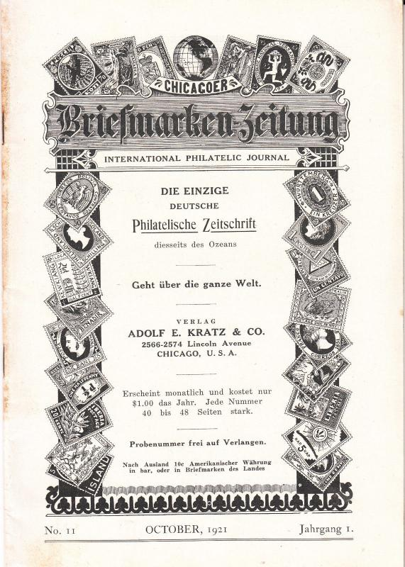 Chicagoer Briefmarken Zeitung  October 1921 #11
