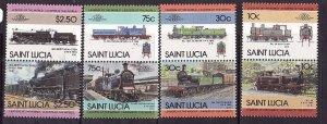 St Lucia-Sc#774-7-unused NH set-Trains-Locomotives-Railways-1985--