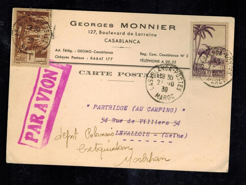 1939 Casablanca Morocco Postcard cover to France Georges Monnier