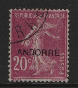 ANDORRA, 7, USED, 1931, STAMPS AND TYPES OF FRANCE, 1900-1929 OVERPRINTED