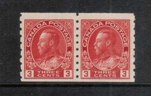Canada #130 Very Fine Never Hinged Coil Pair