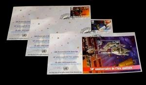 U.N. 2007, VIENNA #409-411, SPACE FOR HUMANITY, SET OF 3  FDCs, LQQK!