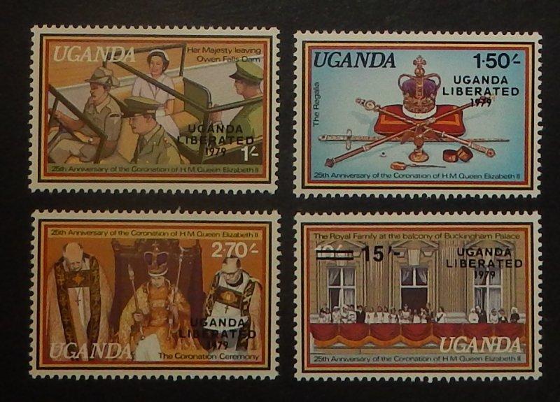 Uganda 245-48. 1979 Coronation, Liberation Overprints, NH
