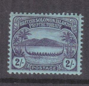 SOLOMON ISLANDS, 1910 Small Canoe, 2s. Purple on Blue, lhm., slight spots.