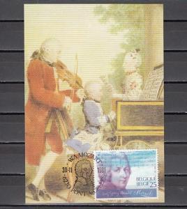 Belgium, scott cat. 1425. Composer Mozart issue on a Maximum Card.