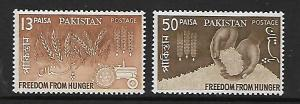 PAKISTAN 176-177  MNH FREEDOM FROM HUNGER SET 1963