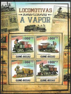 Guinea-Bissau MNH S/S Steam Locomotives 2011 4 Stamps
