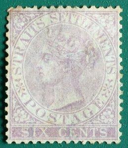 Malaya Straits Settlements 1868 QV 6c wmk CrownCC MH SG13 CV£150 M1816