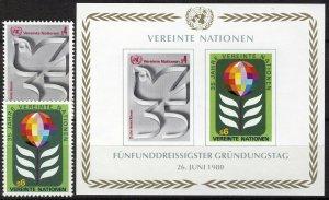 UN Vienna 1980, Mi 12A-13A, Bl 1, 35 years United Nations (UN) set VF MNH