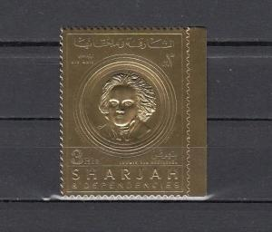 Sharjah, Michel cat. 719 A. Composer Beethoven, Gold Foil issue.