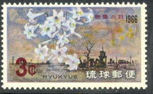 RYUKYU ISLANDS 1966 MEMORIAL DAY Battle of Okinawa Issue Sc 144 MNH