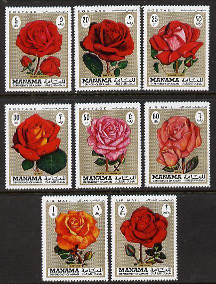 Manama MNH Set Of 8 Roses 1971