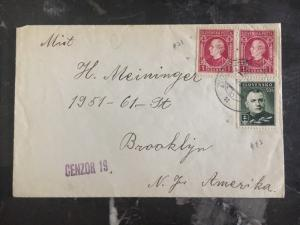 1939 Zvolen Slovakia Locally  Censored Cover to Brooklyn USA