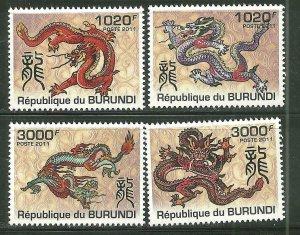 Burundi MNH 1016-9 Year Of The Dragon 2011 SCV 12.50