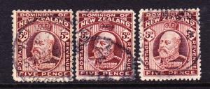 NEW ZEALAND 1909 5d  KEVII x3 FU  SG 391/397/402