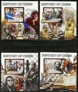 SOLOMON ISLANDS NEVER OFFERED 2012 HISTORY OF CHESS SET OF 4  DELUXE S/S MINT NH