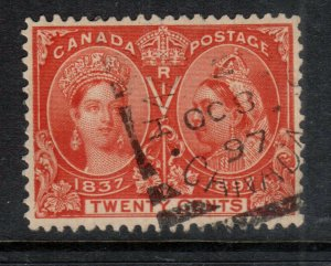 Canada #59 Extra Fine Used With OCT 8 1897 Square Circle Cancel - Type II