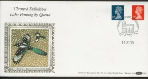 11/10/1988 14p+19p QUESTA-EX BOOKLETS PICTORIAL POSTMARK FDC