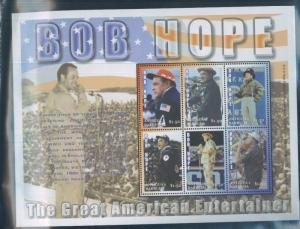 Bob Hope American Military Entertainer Souvenir Stamp Sheet 2593 Antigua E70