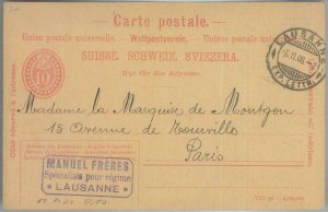 82194  - SWITZERLAND - Postal History -  Private STATIONERY CARD 1908