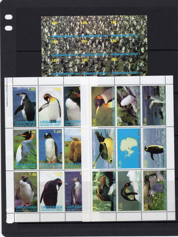 Ukrainian Antartic Post 1998 PENGUINS 2 Shlt(9)+1S/S #10/36 Local Issues Russia