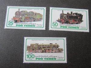 Yemen 1983 Sc 302-4 Train set MNH