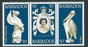 BARBADOS SG597/9 1978 CORONATION  MNH