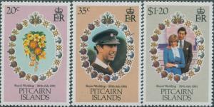 Pitcairn Islands 1981 SG219-221 Royal Wedding set MNH