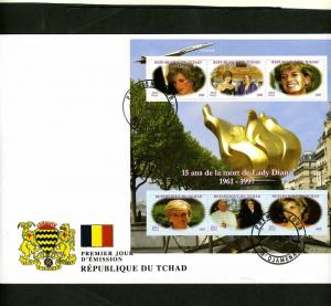 Chad 2012 Princess Diana & Princess Grace Sheet Perforated in official FDC