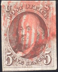 US Stamp Scott #1 Used Red Brown w/ Orange Red Cancel SSCV $400