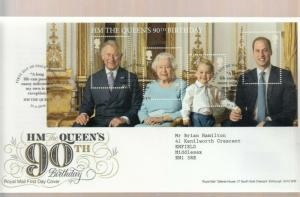 2016 QUEENS 90TH BIRTHDAY MINI SHEET FDC.  DECORATIVE WINDSOR CANCEL