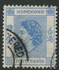 Hong Kong - Scott 191 - QEII - Definitive - 1954 - FU - Single 40c Stamp