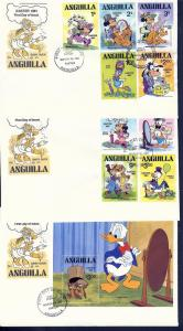 Anguilla, 434-43, Disney Set (3) FDC's,**Used**