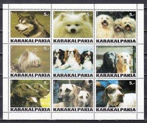 Karakalpakia, 1999. Russian Local. Various Dogs sheet of 9. ^