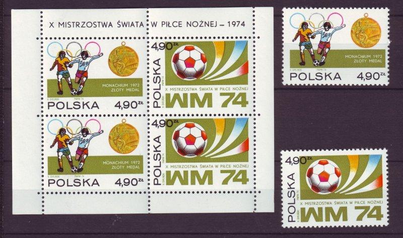 Z739 JLstamps 1974 poland set + s/s mnh #2036-7 +2037a sports