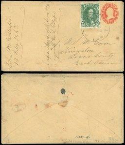 FEB 10 1862 Chattanooga Cds, CSA Confederate #1b on #U27 - WSM EWEN (DK-10-20-21
