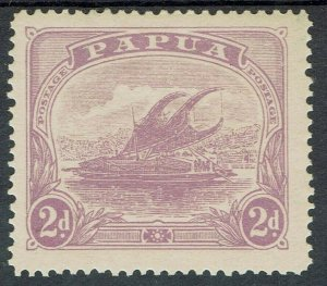 PAPUA 1911 LAKATOI MONOCOLOUR 2D WMK CROWN TO RIGHT OF A