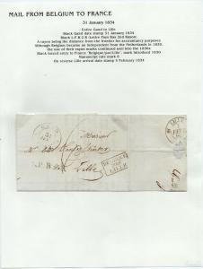 FRANCE Early Incoming LETTER/COVER 1834 fine used item Gand - Lille