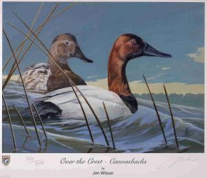 VIRGINIA #15 2002 STATE DUCK STAMP PRINT CANVASBACK by Jim Wilson List $155
