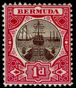 BERMUDA SG37, 1d brown & carmine, LH MINT. Cat £40.