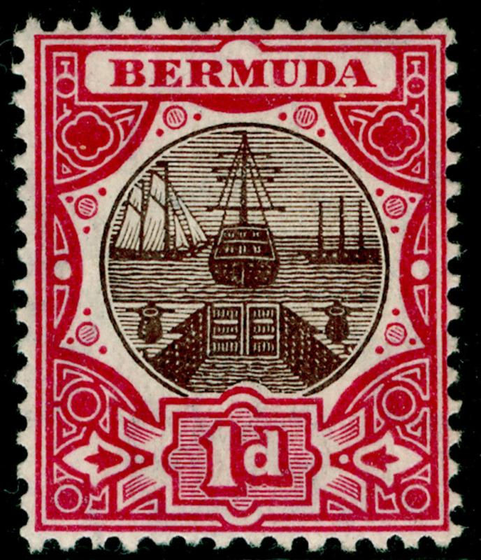 BERMUDA SG37, 1d brown & carmine, LH MINT. Cat £40.