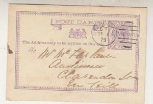 VICTORIA, Postal Card, 1879 1d. Violet, Melbourne to Emerald Hill.