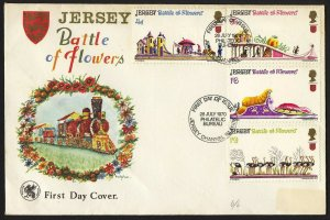 wc013 Jersey 1970 Battle of Flowers complete set train cachet FDC first day cvr