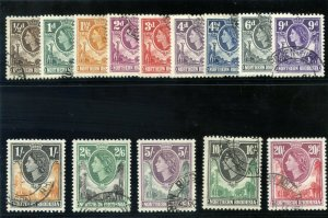 Northern Rhodesia 1953 QEII set complete very fine used. SG 61-74. Sc 61-74.