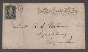 **CSA Cover, SC# 12, Charlottesville, VA 2/6/1864, Misspelled Charlotteville CDS