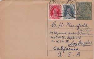 India 3p and 1a KGVI on 9p KGV Postal Card 1939 Gethia, Naini Tal to Los Ange...