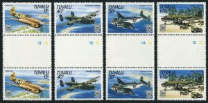 Tuvalu 307-310 gutter,MNH.Mi 304-307. World War II Aircraft,1985.Curtiss O-40N,